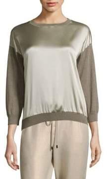 Peserico Silk-Front Sweater