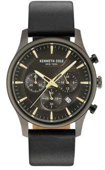 Kenneth Cole Dress Sport Leather-Strap Analog Watch