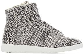 Maison Margiela Black and White Snakeskin Future High-Top Sneakers