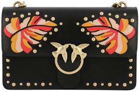Pinko Crossbody Bags Bag Foglia Intarsio Leaves In Smooth Leather With Metal Studs And Patches
