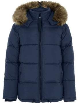 River Island Mens Blue faux fur hood nylon puffer coat