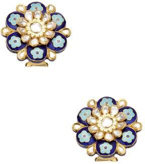 Amrapali Women's 22K Yellow Gold & 2.06 Total Ct. Diamond Floral Stud Earrings
