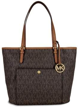 MICHAEL Michael Kors Jet Set Snap-Pocket Tote - BROWN LOGO - STYLE
