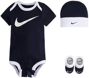 Nike Bodysuit Hat Bootie Swoosh Set - Baby