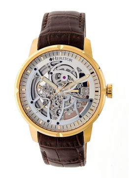 Heritor Ryder Mens Brown Strap Watch-Herhr4605