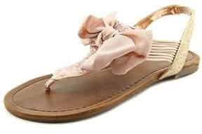 Material Girl Womens Swan Fabric Split Toe Casual T-strap Sandals.