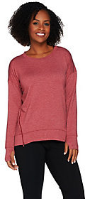 Cuddl Duds As Is Comfortwear Lounge Pullover with Zip Detail