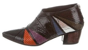 Rodarte Multicolor Embossed Leather Booties w/ Tags