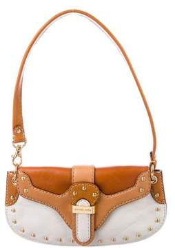 Michael Kors Bicolor Studded Leather Shoulder Bag - BROWN - STYLE