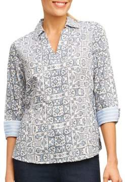 Foxcroft Petite Abstract Printed Top