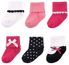 Luvable Friends Pink & Black Polka Dot Dressy Six-Pair Cuff Sock Set