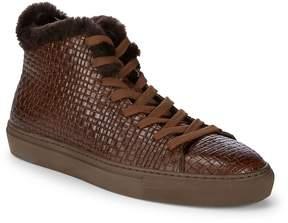 Aquatalia Men's Alonzo Sheep Fur and Leather Embossed Platform Sneakers