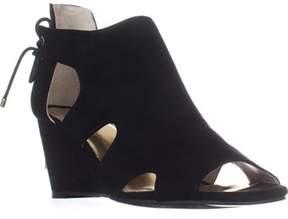 Thalia Sodi Ts35 Adra Cutout Rear Lace Wedge Sandals, Black.
