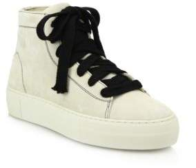 Helmut Lang High-Top Suede Lace-Up Sneakers