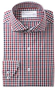 Lorenzo Uomo Gingham Dot Dobby Trim Fit Dress Shirt