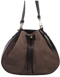 Borbonese Women's Brown Suede Shoulder Bag.