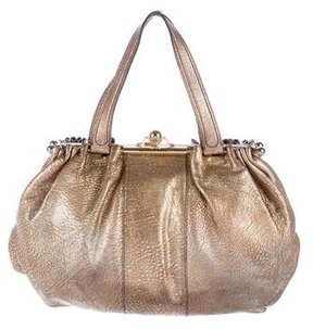 Roberto Cavalli Metallic Pebbled Leather Bag