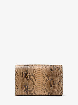 Michael Kors Chrissy Slashed Python Clutch - NATURAL - STYLE