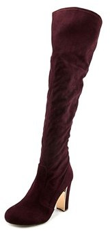 Material Girl Priyanka Women Round Toe Canvas Red Over The Knee Boot.