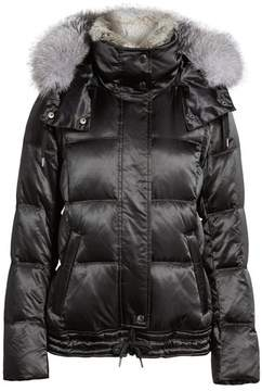 Andrew Marc Women's Convertible Down Coat With Genuine Rabbit Fur & Genuine Fox Fur