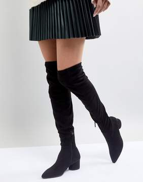 MANGO Over The Knee Block Heel Boot