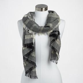 World Market Black and White Stripe Textured Scarf