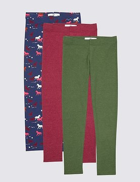 Marks and Spencer 3 Pack Cotton Rich Leggings (3-14 Years)