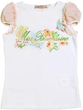 Miss Blumarine Rhinestone Embellished Cotton T-Shirt
