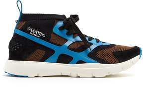 Valentino Sound High leather and knit low-top trainers