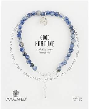 Dogeared Gem Bracelet, Good Fortune, Fortune Cookie Charm, Sodalite Bead Bracelet