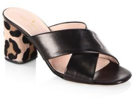 Kate Spade Denault Leather and Calf Hair Slide Sandal