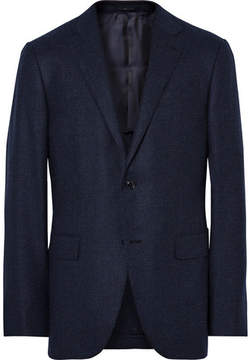 Ermenegildo Zegna Blue Slim-Fit Micro-Checked Wool And Cashmere-Blend Blazer