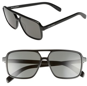 Saint Laurent Women's 58Mm Square Navigator Sunglasses - Black/ Black/ Grey