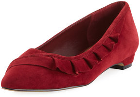 Elie Tahari Pioneer Ruffle Pointed Flat, Crimson