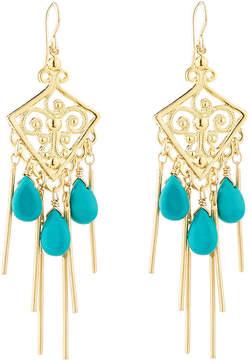 Devon Leigh Golden Filigree Chandelier Earrings w/ Sleeping Beauty Turquoise
