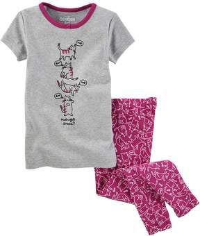 Osh Kosh Oshkosh Bgosh Girls 4-14 Midnight Snack? Kitty Tee & Bottoms Pajama Set