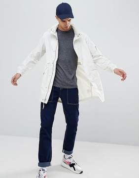 Penfield Pancho Long Nylon Concealed Hood Parka Jacket in White