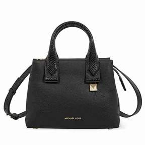 Michael Kors Rollins Small Snake-Embossed Leather Satchel- Black