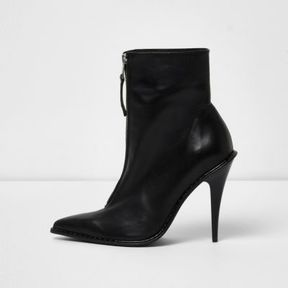 River Island Womens Black zip pointed toe stiletto leather boots