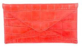 Michael Kors Embossed Leather Clutch - ORANGE - STYLE