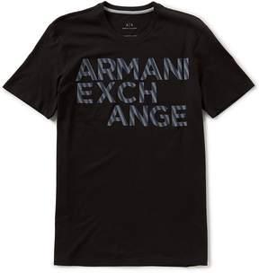 Armani Exchange Striped Logo Short-Sleeve Tee