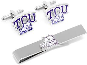 Ice TCU Horned Frog Cufflinks and Tie Bar Gift Set