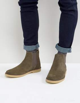 Zign Shoes Suede Chelsea Boots In Khaki
