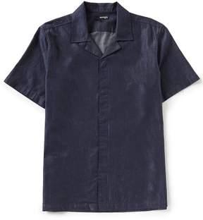 Murano Slim-Fit Solid Indigo Short-Sleeve Camp Shirt