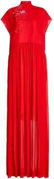 DELPOZO Silk Georgette Floor Length Gown