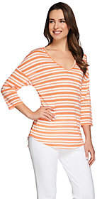 C. Wonder As Is 3/4 Sleeve V-neck Knit Top with Novelty Stripe