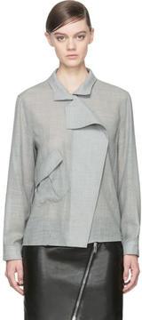 Anthony Vaccarello Grey Wool Angled Pocket Blouse