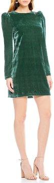WAYF Lalia Long Sleeve Velvet Shift Dress