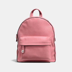 COACH CAMPUS BACKPACK IN GLITTER ROSE POLISHED PEBBLE LEATHER - SILVER/GLITTER ROSE