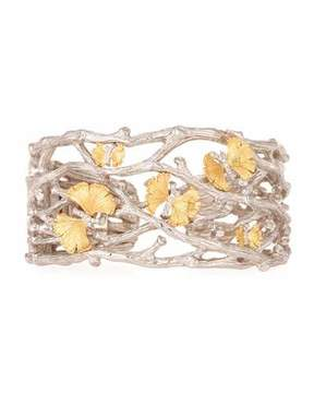 Michael Aram Butterfly Gingko 18K & Sterling Silver Cuff with Diamonds